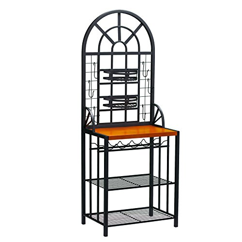 Southern Enterprises Dome Bakers Rack with 5 Wine Bottle Storage, Black Finish