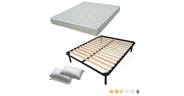 Juego completo de cama - Incluye: somier, colchón de matrimonio y almohadas - Dimensiones: 160 x 190 cm