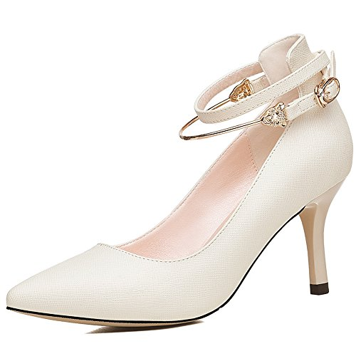 Sandals Women's Shoes PU Spring Summer Comfort Stiletto Heel Pointed Toe Buckle for Casual Office & Career Dress Stylish/comfortable (Color : White, Size : EU36/UK3.5/CN35) White