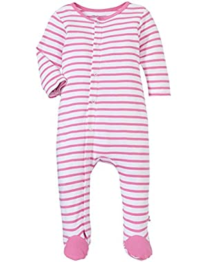 Baby Footie Hot Pink Breton Stripe Hot Pink 3 Months