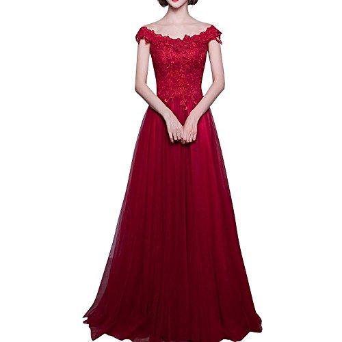 Glamour Rock Brautjungfernkleider Abendkleider A Damen Brautmutterkleider Dunkel Rot Lang Kurzarm Spitze Linie Charmant AwnCavxq5x