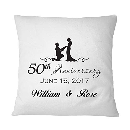 (Style In Print Personalized Custom Text 50th Anniversary Polyester Accent Throw Case for Couch Sofa Bed Home Decor Pillow Cover - Cover Only)