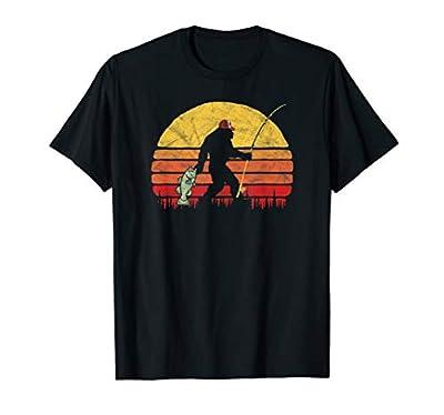 Bass Fishing Bigfoot In Trucker Hat Retro Funny Gift T Shirt