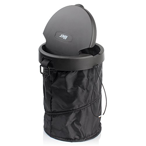 LILER Universal Traveling Portable Car Trash Can - Collapsible Pop-up Trash Bin with Cover (Black)