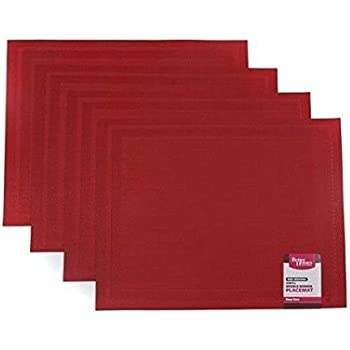 Better Homes And Gardens Red Double Border Placemat Set Of 4 Home Kitchen