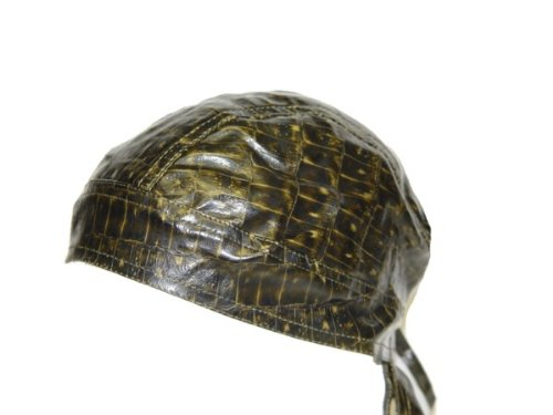 Biker skull doo rag bandana cap hat head wrap -One Size, Brown