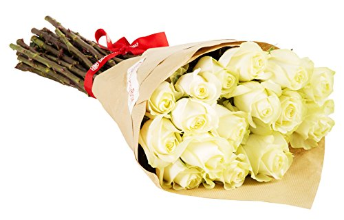 24 Long Stem White Rose Bouquet - No Vase by BloomsyBox