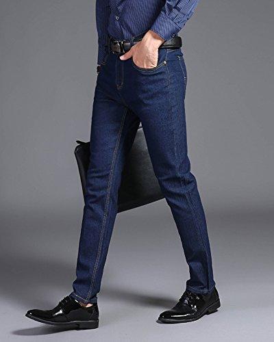 Fit Denim Jeans Elasticizzati Straight Casual Slim Uomo Business Blu Pantaloni 5qBAw0