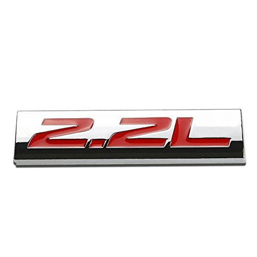 UrMarketOutlet 2.2L Red/Chrome Aluminum Alloy Auto Trunk Door Fender Bumper Badge Decal Emblem Adhesive Tape Sticker