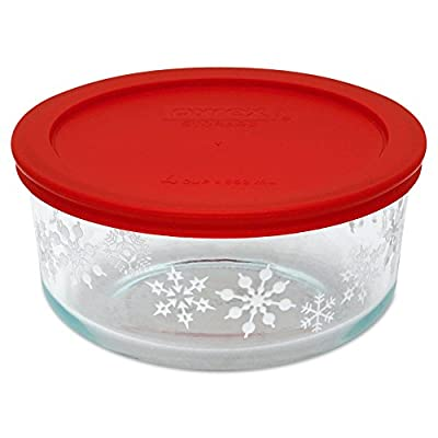 Pyrex 4-Cup Christmas Holiday Edition Tempered Glass Food Storage Container with Lid, Red - 100% Microwave and Dishwasher Safe