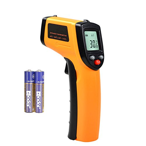 Temperature Gun Digital Laser Infrared Thermometer Bright LCD Display with LED Backlight -58°F to 716°F (-50~380℃) Instant-read Handheld by JOJOBO