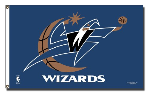 Rico Industries NBA Washington Wizards 3-Foot by 5-Foot Single Sided Banner Flag with - Washington Flag Wizards