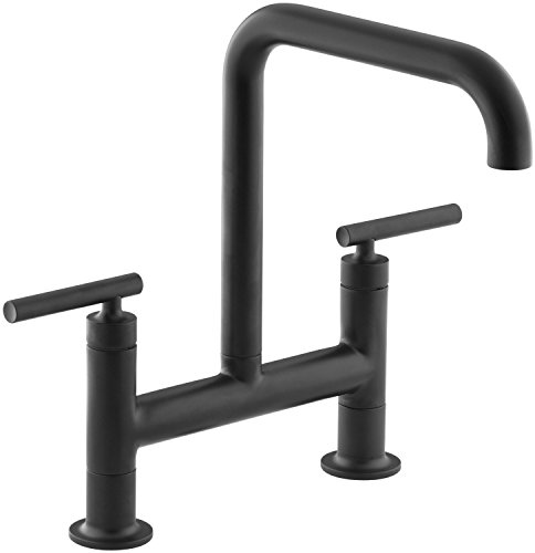 KOHLER K-7547-4-BL Purist Deck-Mount Bridge Faucet, Matte Black