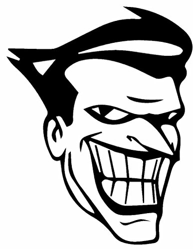 Decals Joker (DC Comics Batman Animated Series Joker, White, 6 Inch, Die Cut Vinyl Decal, For Windows, Cars, Trucks, Toolbox, Laptops, Macbook-virtually Any Hard Smooth Surface)