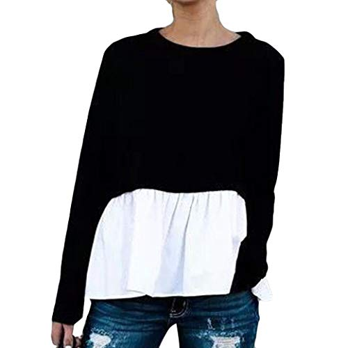 AIMEE7 Haut Femme Casual Lache Manches Longues d'pissure T Shirt Sweat-Shirt Tops Noir