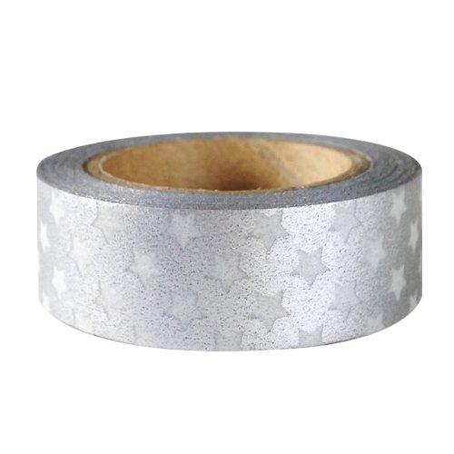 Wrapables Colorful Patterns Japanese Washi Masking Tape - Silver Stars