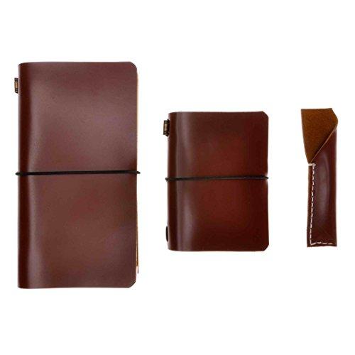 Satz aus 1x Handbuch im Standardformat für Reisende, 1x Handbuch im Passportformat und 1x Stifttasche, handgefertigt, im Vintage-Stil