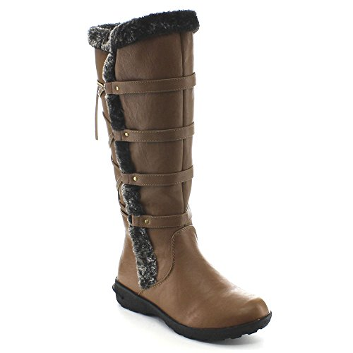 Forever Aura-42 Womens Back Lace Up Knee High Boots Winter Boots Tan