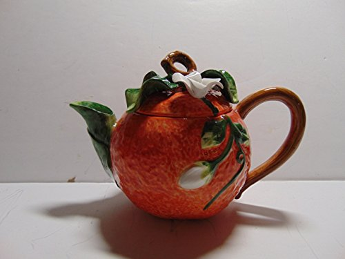 - Ambiance Collections Handpainted Ceramin Orange Shaped Teapot