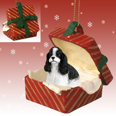 (COCKER SPANIEL Dog Black n White Parti sits in a Red Gift Box Christmas Ornament New RGBD15E)