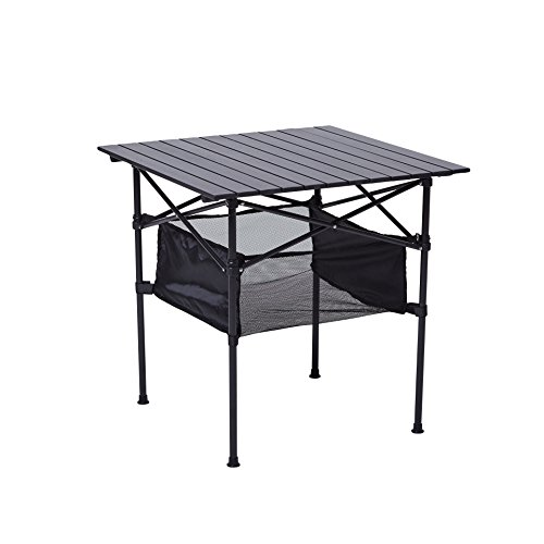 RORAIMA Easy Setup Portable Compact Aluminum Camping Folding Table With 120Lbs Capacity Great for Outdoor Camping, BBQ or Playing Cards Product size 27.56X27.56X27.56 Inch - Aluminum Tea Table