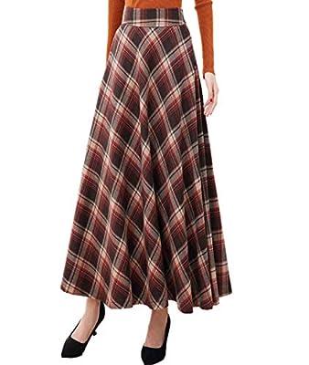 Femirah Women's Fall Winter Elastic Waist Vintage A Line Plaid Long Skirts One Size