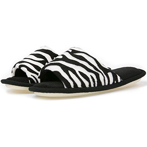 Eastlion Zebra Pattern Flat Bottom Slippers Ladies Fish Mouth Home Slippers 6JiXDnps