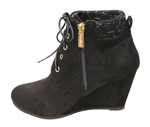 toe ankle up Sally collar zip lace almond woven Marie side wedge padded 29 Women's booties Black heel Bella suede waFX5zqx