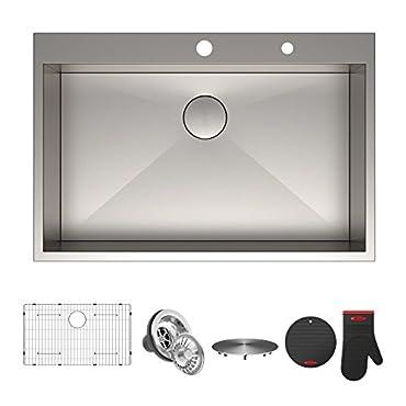 Kraus KP1TS33S-2 Pax Kitchen Sink Single Bowl, 33 Inch, 33 x 22 x 9 2 Hole