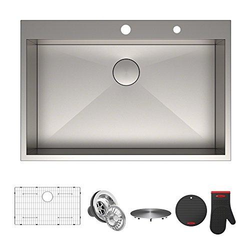 Lowest Price! Kraus KP1TS33S-2 Pax Kitchen Sink Single Bowl, 33 Inch, 33 x 22 x 9 2 Hole