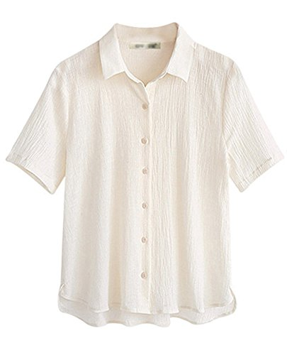 Shirt T Lache Chemise Loisirs Femmes Unie Bouton Couleur Runyue Blanc Chemisier xwCTRqI0Xw