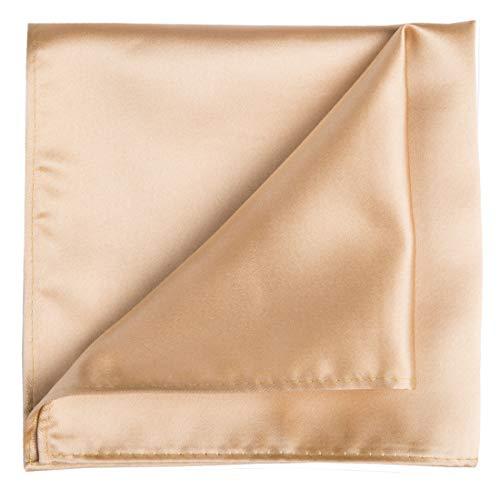 Handkerchief Box - KissTies Gold Champagne Pocket Square Mens Satin Handkerchief + Gift Box