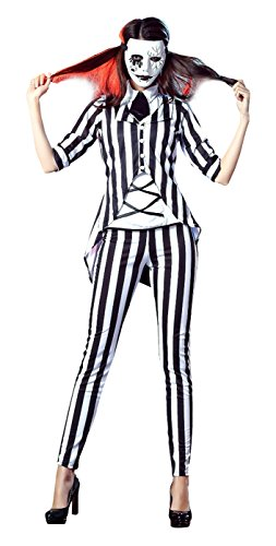 Lusiya Women's Fashion Gothic Ghost Halloween Costume Circus Striped Suit