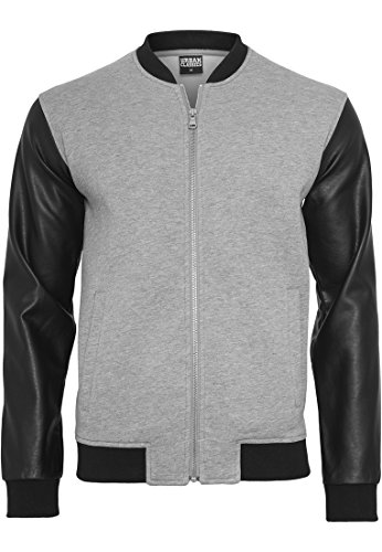 Urban Classics Zipped Leather Imitation Sleeve Jacket, Chaqueta para Hombre gry/blk
