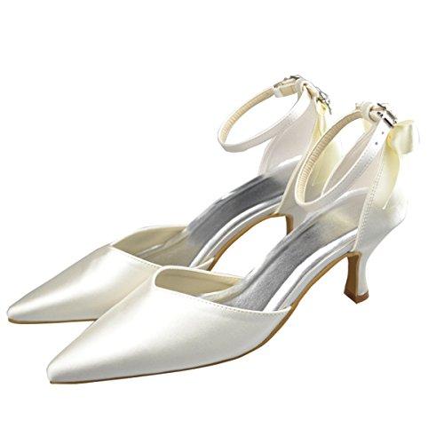 Minitoo - Sandalias de vestir de satén para mujer Beige - Ivory