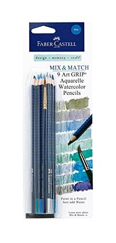 Faber-Castell Art GRIP Aquarelle Watercolor Pencils Set With Brush, Set of 9 - Blues Blue Watercolor Pencil