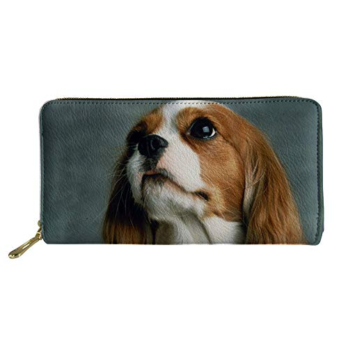 HUGS IDEA Durable Long Wallets Lovely Cavalier King Charles Spaniel Dog Design Card Holder Zip Clutch
