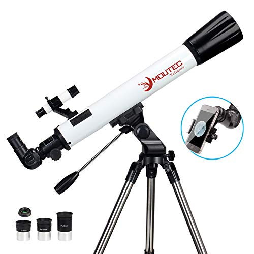 Moutec Telescope for Astronomy Beginners with Sturdy Steel Tripod, 700x70mm AZ Astronomical Refractor Telescope for Adults, Great Astronomy Gift for Kids to Explore Moon and Planets