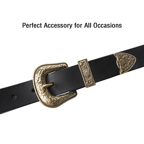 Women Belt,Black Leather Belts for Women with Gold Vintage Buckle by SUOSDEY