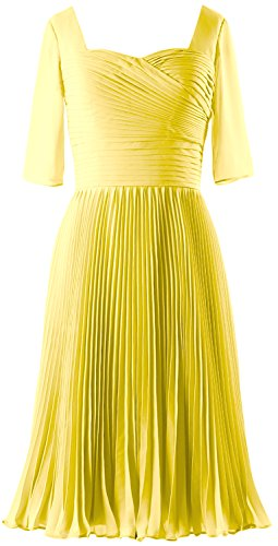 MACloth Women Half Sleeves Mother of Bride Dress Chiffon Cocktail Formal Gown Canary