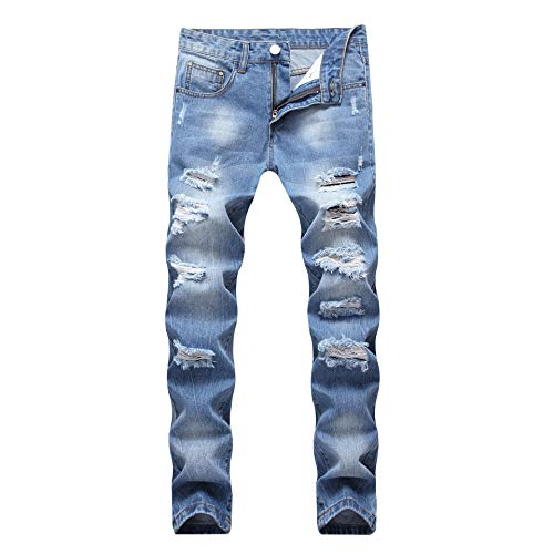 (CLOTPUS Men's Slim Fit Ripped Stretch Jeans Destroyed Skinny Pants with Holes Light Blue)