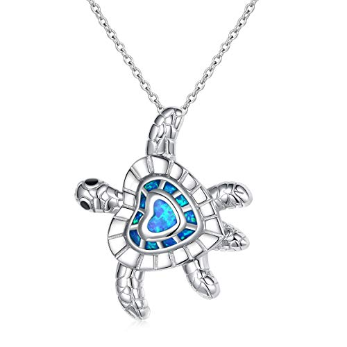 - [Health Longevity] 925 Sterling Silver Created Blue Opal Sea Turtle Pendant Necklace Ring 18