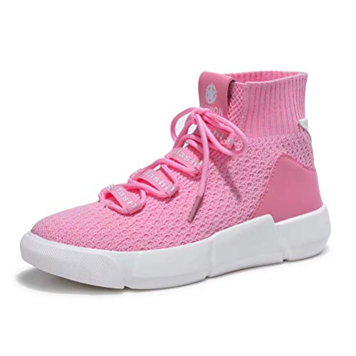 - KONHILL Women's Lightweight Walking Shoes - Elastic Knit Casual High Top Ankle Socks Sneakers, Pink, 36