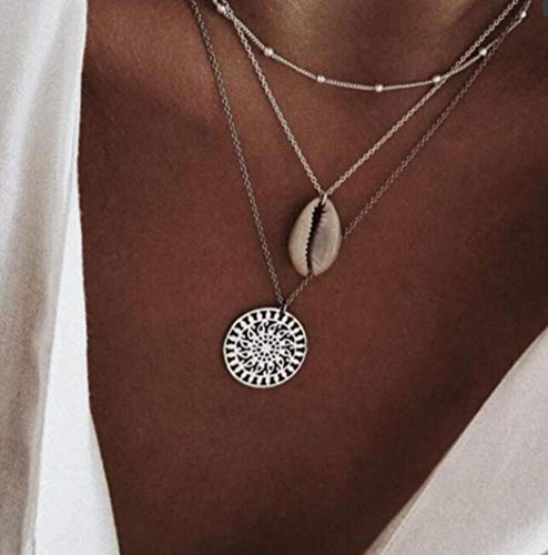 CanB Boho Shell Necklace Layered Chokers Necklaces Coin Pendant Drop Silver Necklace Fashion Jewelry Necklace for Women and Girls