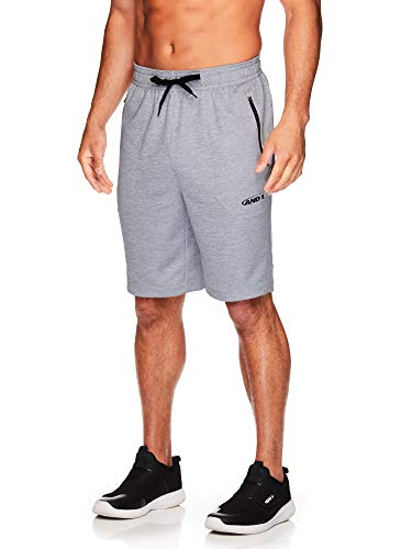 (AND1 Men's Basketball Gym & Running Shorts w/Elastic Drawstring Waistband & Pockets - Grey Heather, Small)