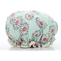 Fashion Design Stylish Reusable Shower cap with Beautiful pattern and color (Adult Size, Green(Daisy))