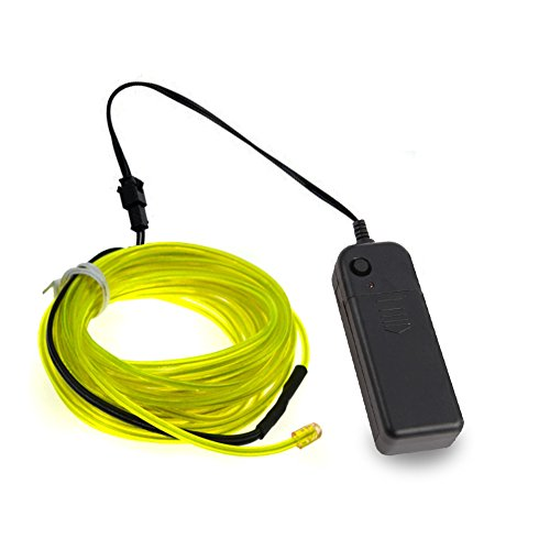 LEDHOLYT 9ft 3m Neon Glowing Strobing EL Electroluminescent Wire Kit Light for Burning Man Halloween Festival Day Thanksgiving Day Christmas New Year Birthday Party Decoration (Fluorescent Green)