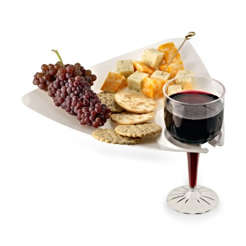 (White Cocktail Buffet Plates with Beverage Holder 10 Pack Party Plates with Wine Stem Holder)