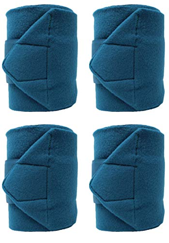 - CHALLENGER Equine Leg Care Horse Size Tack Grooming Pack of 4 Fleece Polo Wraps Teal 95J05