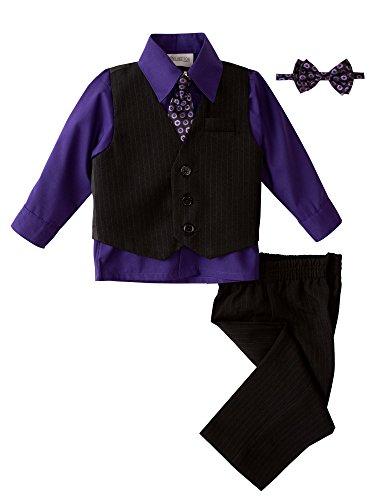 Price comparison product image Spring Notion Baby Boys' 5 Piece Pinstriped Vest Set Purple Size 4T